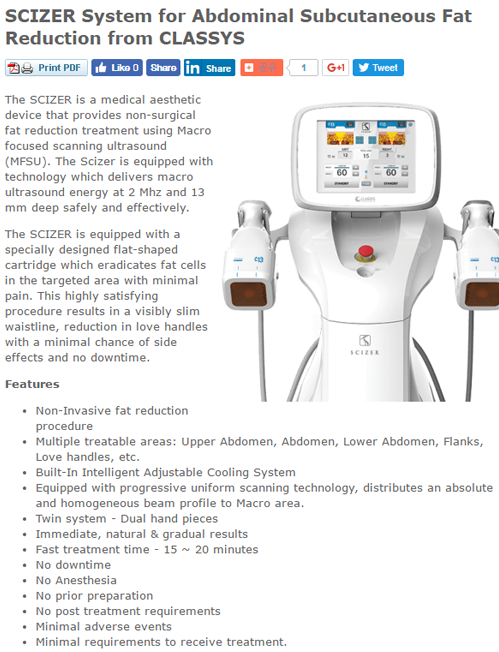 SCIZER System for Abdominal Subcutaneous Fat Reduction from CLASSYS